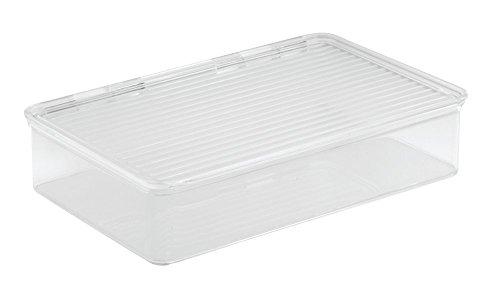 InterDesign Cabinet/Kitchen Binz Aufbewahrungsbox, stapelbarer Küchen Organizer aus Kunststoff, kleine Vorratsdose mit Deckel, durchsichtig
