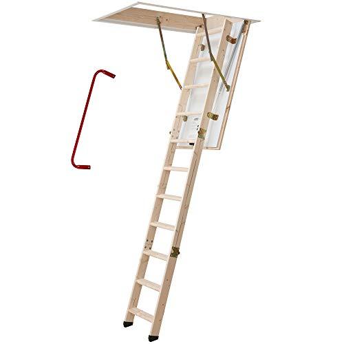 Bodentreppe   wärmegedämmt   U-Wert 1,30   120 x 60 cm   3-teiliges Leiternteil   Lichte Raumhöhe bis 285 cm   Inkl. Bedienstab und Handlauf   150 kg Traglast   Dachstiege   Dachbodentreppe