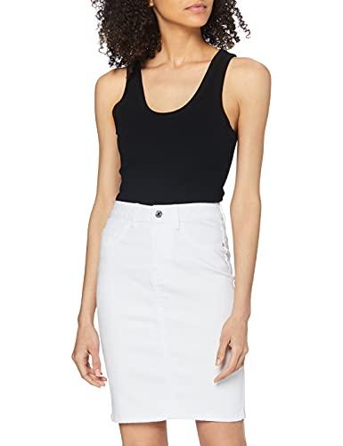 VERO MODA Damen Vmhot Nine Hw Dnm Pencil Skirt Noos Ci Rock, Weiß (Bright White Bright White), S EU