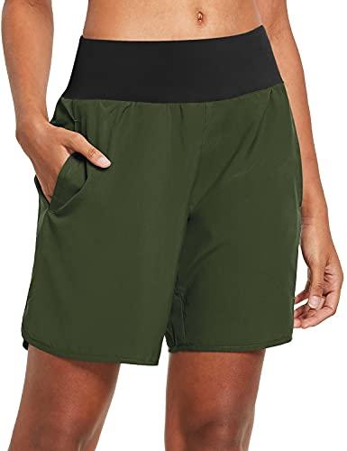 BALEAF Damen Kurze Sporthose mit Taschen für Laufen Jogging und Training Grün M
