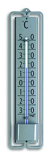 TFA Dostmann Analoges Innen-Außen-Thermometer NOVELLI Design, 12.2001.54, aus Metall, wetterfest, grau