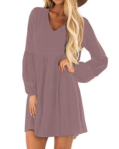 YOINS Sexy Kleid Damen Sommerkleid für Damen Babydoll Kleider Brautkleid Tshirt Kleid Rundhals Langarm Minikleid Langes Shirt Lose Tunika Strandkleid Baumwolle-lila XXL