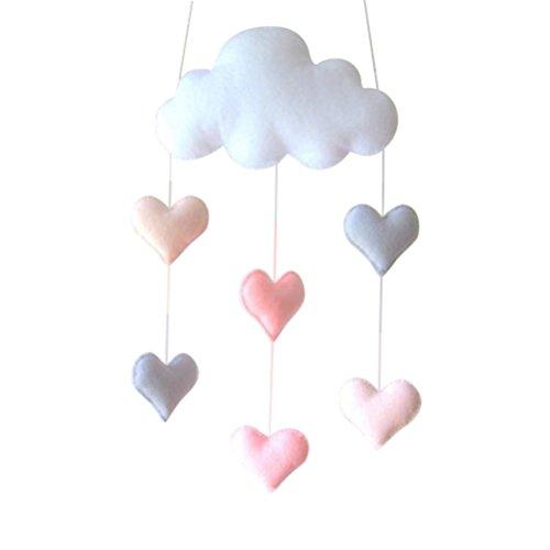 Oulii Deckenmobile, Motiv: Wolke und Herzen, Hängedekoration, Girlande für Kinderzimmer und Babyparty