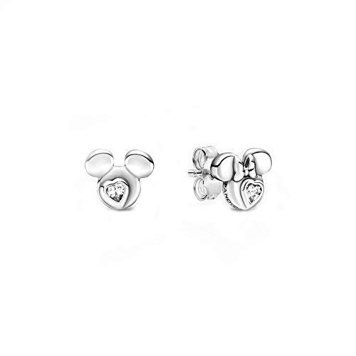 Pandora Disney Micky Maus & Minnie Maus Silhouetten Ohrringe aus Sterling Silber mit einem Zirkonia Stein/Größe: 0,7cm