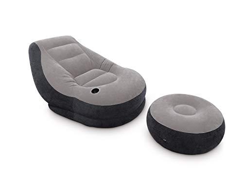 Intex Aufblasmöbel Ultra Lounge, Grau, 99 x 130 x 76 cm / Ø 64 x 28 cm