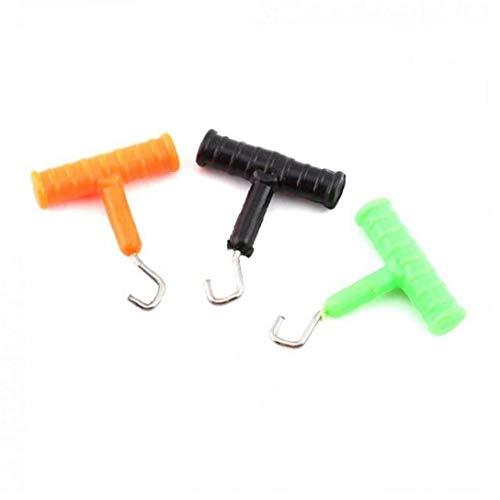 3PCS Angeln Knot Puller Edelstahl-Fischen-Hair Rig, die Werkzeug Knot Rig Puller Pesca Karpfenangeln Zubehör zufällige Farbe