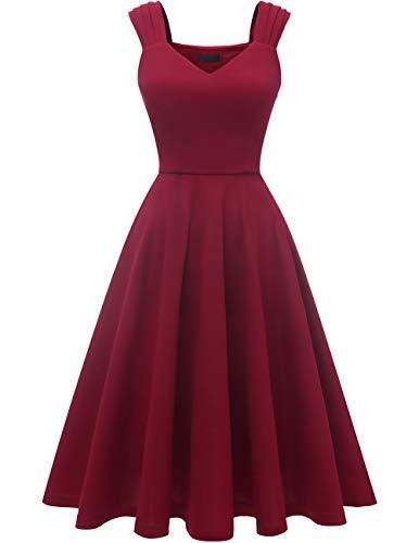DRESSTELLS Damen Retro Kleid 50s Kleider Knielang v Ausschnitt Kleid Petticoat Kleid Burgundy S