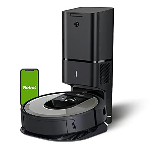 iRobot Roomba i7+ (i7556) WLAN-fähiger Saugroboter, Autom. Absaugstation, Zwei Gummibürsten, Lernt, kartiert dein Zuhause, Reinigt nach Objekten, Individuelle Anpassung, Sprachassistenten-kompatibel