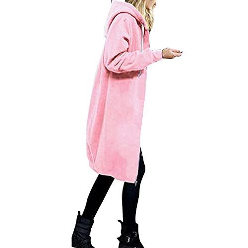 Darringls Übergangsjacke Damen Lang Kapuzenjacke großen Größen Stoffjacke Herbstmode Jacken mit Kapuze Cardigan Funktionsjacke Zip Up Sweatjacke Frauen Streetwear