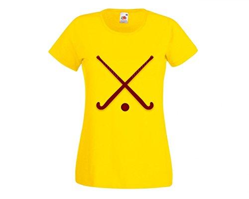 T-Shirt STÖCKE- Eishockey- Kugel- Sport- ÜBERSCHRITTEN- AUSRÜSTUNG- ROT- KASTANIENBRAUN in Gelb für Herren- Damen- Kinder- 104-5XL