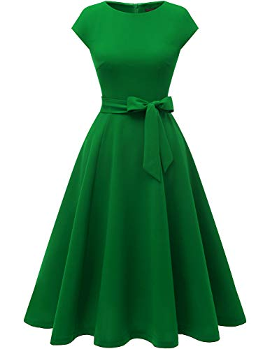 DRESSTELLS Midi 1950er Vintage Retro Rockabilly Kleid Damen elegant Hochzeit Cocktailkleid Green M