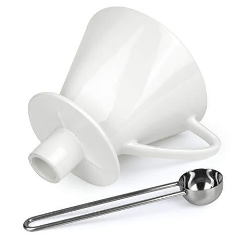 Caffé Italia Permanent Kaffeefilter Größe 4 mit Aufsatz und Löffel für 2-4 Tassen - Handfilter Kaffee - Porzellan Kaffeefilter - Dauerfilter für Kaffeefiltertüten - Weiß