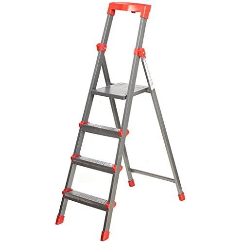 Nika Stehleiter, Trittleiter aus Aluminium, 4 Stufen, klappbar, bis 150kg belastbar