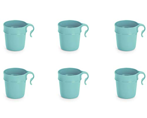Nordiska Plast - 6 Kunststoffbecher mit Henkel 300 ml - türkis - Becher - Kunststofftasse - Plastikbecher - Kaffeebecher - Kindertasse - Campingbecher Kunststoff Mehrweg - BPA-frei - Made in Sweden