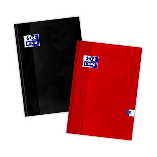 Oxford Schulheft/Kladde A4 96 Blätter, kariert, 2 Stück-Packung, Farbenmix, 400151697, schwarz, rot