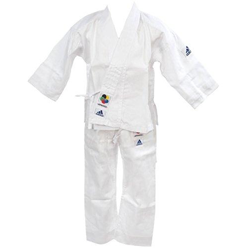 adidas Karateanzug K200E Kids Kinder Judo Anzug (inkl. Gürtel), Weiß, 160-170 cm
