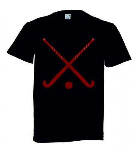 T-Shirt STÖCKE- Eishockey- Kugel- Sport- ÜBERSCHRITTEN- AUSRÜSTUNG- ROT- KASTANIENBRAUN in Schwarz für Herren- Damen- Kinder
