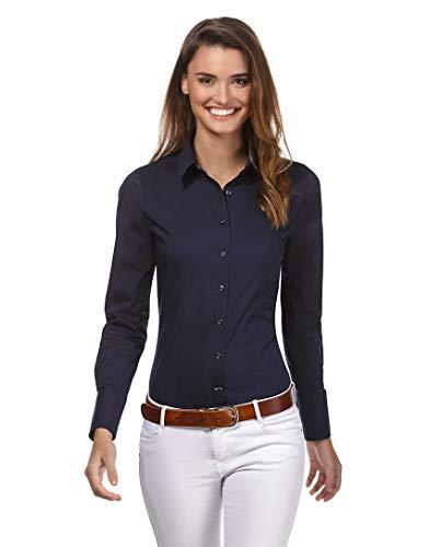 Vincenzo Boretti Damen Bluse besonders tailliert mit Stretch Langarm Hemdbluse elegant festlich Kent-Kragen auch für Business und unter Pullover dunkelblau 36