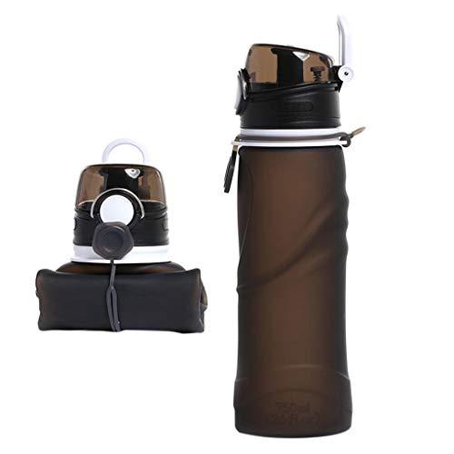 Faltbare Trinkflasche 750 ml, Sportflasche Silikon Trinkflasche Fahrrad,BPA-Frei,Geschmacksneutral, Wasserbehälter zum Trinkrucksack für Fahrrad,Wandern,Joggen,Camping und Klettern (Schwarz)