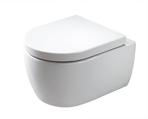 Spülrandloses Wand-WC mit SoftClose-Deckel (Absenkautomatik), Toilette aus Sanitärkeramik mit abnehmbareren WC-Sitz, Tiefspül-WC, D-Form – Hänge-WC mit LED-Nachtlicht-Deckel