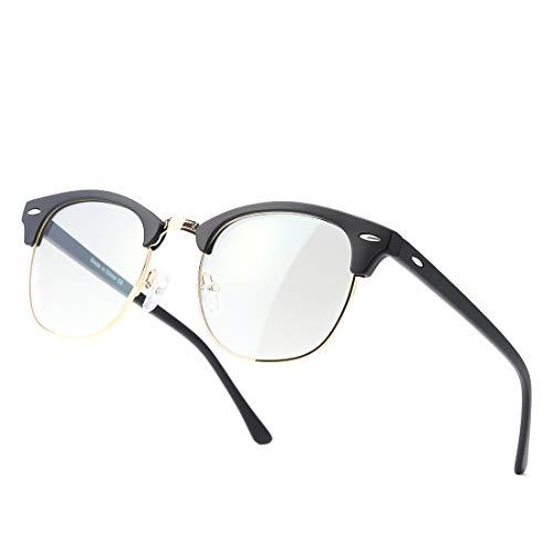 kimorn Blaulichtfilter Brille Halb-Randlos- computerbrille - Anti Müdigkeit, Anti Blaulicht (TV, PC, Bildschirme…) Für verbesserten Schlaf KS052 (Mattschwarzer Goldrahmen/Anti-Blaulichtlinse)