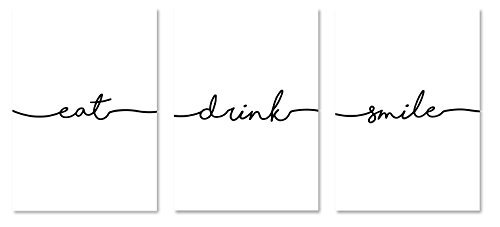 PICSonPAPER Poster 3er-Set eat, Drink, Smile, ungerahmt DIN A4, Dekoration, Kunstdruck, Wandbild, Typographie, Geschenk (Ungerahmt DIN A4)