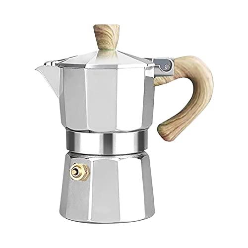 Kisbeibi Espressokocher 3 Tassen 6 Tassen Home Großes Fassungsvermögen Handtropf-Kaffeekanne(Silber - 3 Tassen)