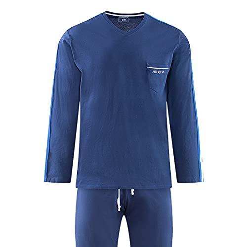 Athena Herren Schlafanzug, lang, V-Ausschnitt, Bio, blau, X-Large