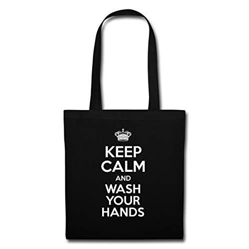 Spreadshirt Keep Calm And Wash Your Hands Hygiene Stoffbeutel, Schwarz