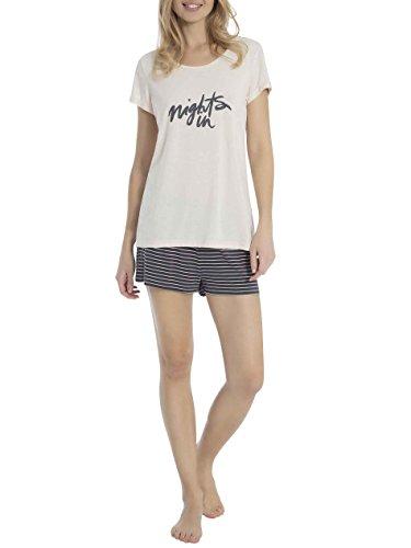 Skiny Damen Lake Side Sleep Pyjama kurz Zweiteiliger Schlafanzug, Mehrfarbig (Champagne 0624), 42