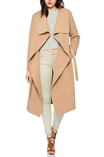 Kendindza Damen Mantel Trenchcoat mit Gürtel OneSize Lang und Kurz (OneSize, Camel Lang)