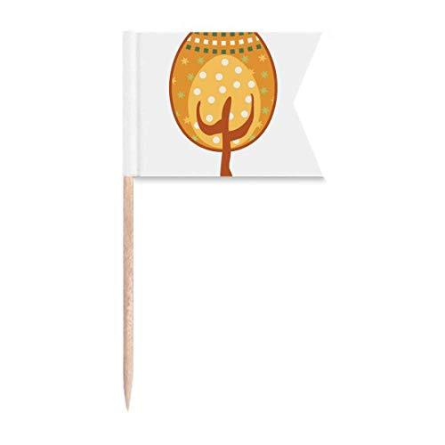 Ostern Festival Gelb Eierbaum Zahnstocher Flaggen Kennzeichnung für Party Kuchen Lebensmittel Käseplatte