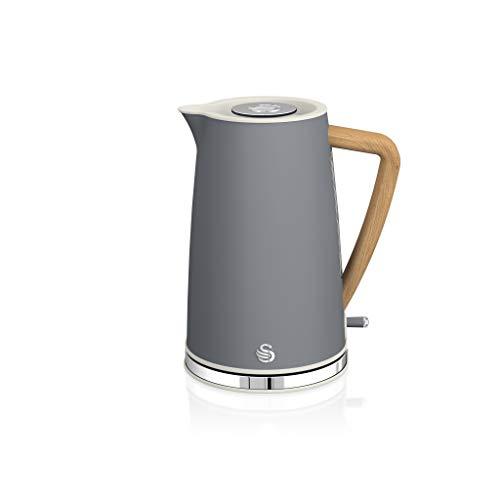Swan Nordic Ultra Schneller elektrischer Wasserkocher, kabellos, modernes Design, 1,7 l, 2200 W, Griff in Holzoptik, automatische Abschaltung, Grau