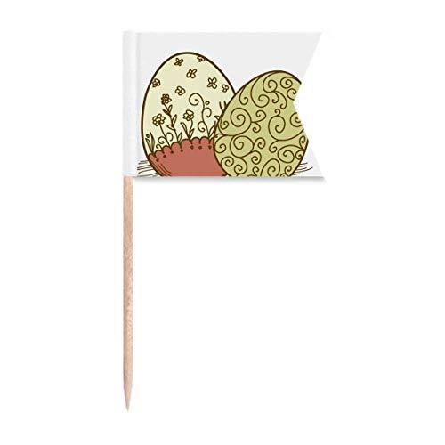 Ostern Festival Blumen Ei Zahnstocher Flaggen Markierung für Party Kuchen Lebensmittel Käseplatte