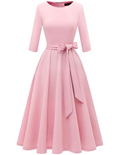 DRESSTELLS Damen 1950er Vintage Retro Cocktailkleid Rockabilly Kleider Faltenrock Festliches Partykleid Brautjungfernkleid Hochzeitskleid Pink 3XL