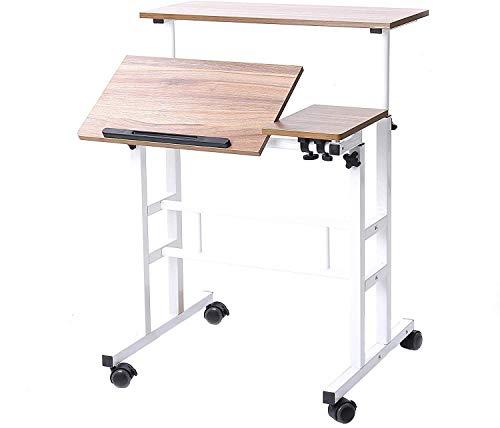 sogesfurniture höhenverstellbar Computertisch Laptoptisch mit Rollen, Mobiler Schreibtisch PC Tisch Notebooktisch Laptopständer für Zuhause und Büro, Eiche BHEU-101-2OK