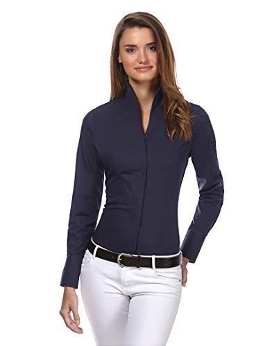 Vincenzo Boretti Damen Bluse mit Kelchkragen leicht tailliert 100% Baumwolle bügelleicht Langarm Hemdbluse mit Stehkragen elegant festlich auch für Business dunkelblau 36