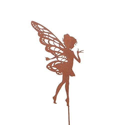 UNUS Zink Elfe klein, Gartendeko Rostoptik, Gartenstecker aus Edelrost, Rost Deko für Garten, Terrasse Balkon Blumentopf
