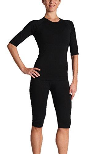 Gina's Bodywear Damen EMS-Wäsche, Trainingsanzug, Oberteil und Hose im Set, optimale Impulsweiterleitung (Schwarz, M)