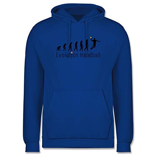 Shirtracer Entwicklung und Evolution Outfit - Handball Evolution Sprungwurf - L - Royalblau - Handball Hoodie - JH001 - Herren Hoodie und Kapuzenpullover für Männer