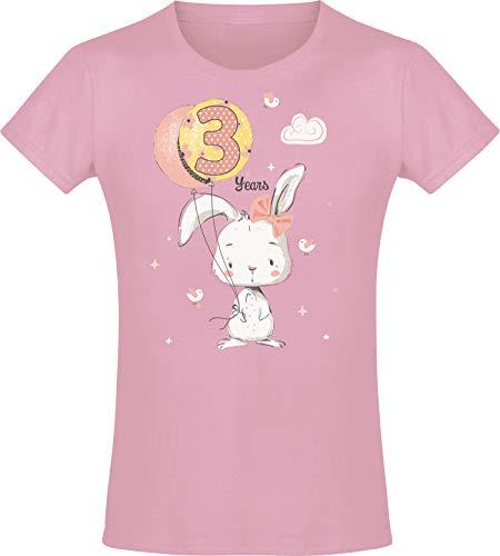 Mädchen Geburtstags T-Shirt: 3 Jahre mit Hase - DREI Dritter Geburtstag Kind-er - Geschenk-Idee - Häschen Hasi - Pink Rosa - Niedlich - Kindergeburtstag - Jahrgang 2018 (Pink 104)