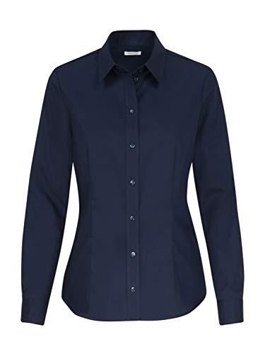 Seidensticker Damen Bügelfreie, taillierte Hemdbluse-Regular Fit-Hemdbluse-Langarm-100% Baumwolle Bluse, Dunkelblau, 46