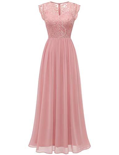 DRESSTELLS Abendkleid Damen Elegant Hochzeit Chiffon Spitzenkleid Maxi Ballkleider Blush M