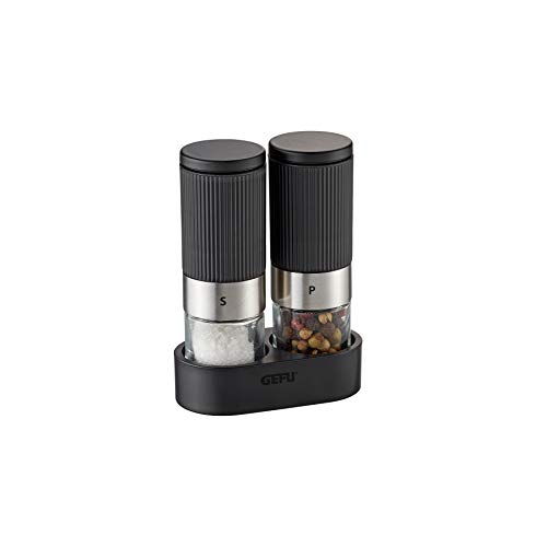 GEFU 34621 Salz- & Pfeffermühle TUSOME - 2 Mini-Gewürzmühlen mit Tischgestell
