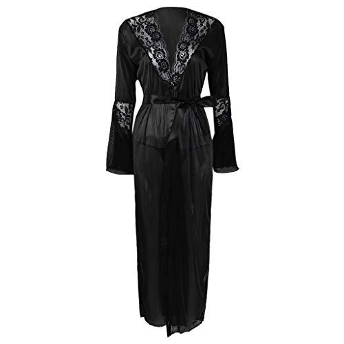 yanni Sexy langes Kimono-Kleid für Damen, mit Spitze, Bademantel, Dessous, Eisseide, Nachthemd Gr. 50, Schwarz
