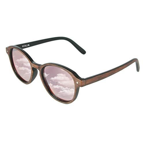 IOLIX Sonnenbrille in edler Holz-Optik mit verspiegelten Gläsern der Kategorie 3-100% UV Schutz (UV400), Rot - Unisex, inklusive faltbarem Brillenetui und Mikrofaser-Reinigungstuch