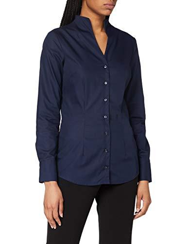 Seidensticker Damen Bluse – Bügelfreie, schmal taillierte Hemdbluse mit Kelchkragen und Kragen-Ausschnitt – Langarm – 100% Baumwolle, Blau (Dunkelblau 18), 40