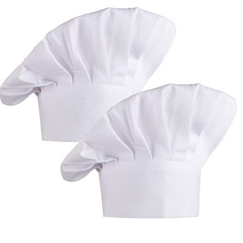 Kbnian 2 Stück Kochmütze Unisex Elastische Koch Hut für Küche, Hotel, Restaurant, Küchenparty, Weinachten, Schule, Bar, Café (Weiß)