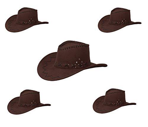 Alsino Cowboyhut Cowboy Hut 5er Set Damen Braun Frauen Karneval Westernhut Unisex Kostümzubehör Fasching Kunstleder Kopfbedeckung