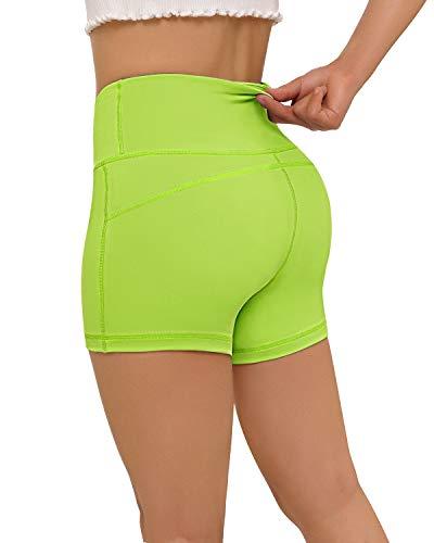 FAFAIR Yoga Shorts für Damen Laufshorts Kurze Sporthose Sweatshorts High Waist Elastizität mit Tasche Fluorescent Green M